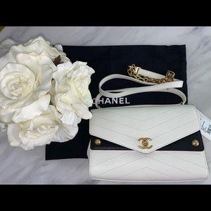 Chanel flapbag C7600 white/Black Nsz brand new